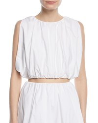 Paskal Sleeveless Puffy Cotton Crop Top White