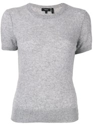 Theory Fitted Knit T Shirt Grey