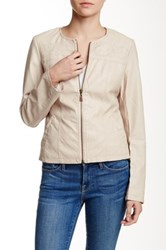 Lavand. Embroidered Faux Leather Jacket White