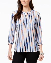 Jm Collection Petite Printed Pleated Back Blouse Created For Macy's Mc Fuzzy Bars