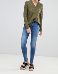 Blend She Bright Panelled Skinny Jeans Dark Blue Denim