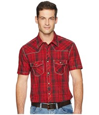 Rock And Roll Cowboy Short Sleeve Snap Plaid B1s4111 Red Clothing