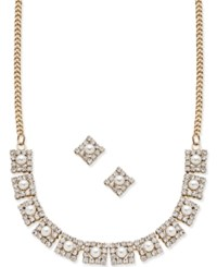 Charter Club Gold Tone Imitation Pearl And Pave Crystal Collar Necklace And Stud Earrings Set Only At Macy's
