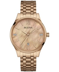 Bulova Women's Diamond Accent Rose Gold Tone Stainless Steel Bracelet Watch 36Mm 97P113