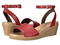 Crocs Leigh Ann Ankle Strap Leather Garnet Women's Wedge Shoes Red