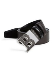 Bally Textured Logo Buckle Calf Leather Belt Coffee