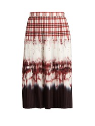Altuzarra Lucille Check Degrade Pleated Skirt Red Multi