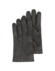 Forzieri Black Leather Handmade Men's Gloves W Wool Lining