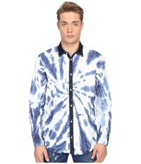 Dsquared Tie Dye Wash Relax Dan Shirt White Denim Men's Long Sleeve Button Up