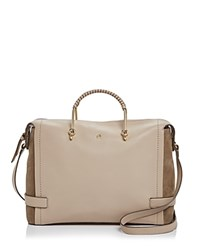 Etienne Aigner Agnes Leather Satchel Taupe Gold