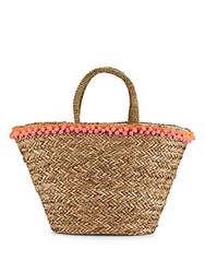 Saks Fifth Avenue Seagrass Tote Pink Orange