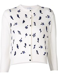 Oscar De La Renta Embroidered Sequin Cardigan White