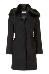 Faux Fur Collar Coat By Wal G Black
