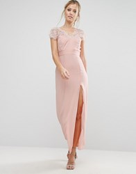 Elise Ryan Scalloped Lace Maxi Dress With V Back Nude Pink