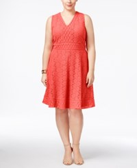Charter Club Plus Size Lace Fit And Flare Dress Only At Macy's Crushed Coral