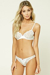 Forever 21 Sheer Lace Cheeky Panty White