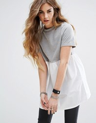 Noisy May High Neck Two In One Tunic Gray