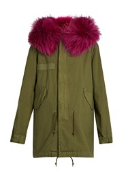 Mr And Mrs Italy Fur Trimmed Canvas Parka Khaki