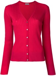 Estnation Ribbed V Neck Cardigan Women Cotton 38 Red