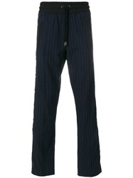 Palm Angels Pinstripe Straight Trousers Men Cotton Polyester Viscose Tencel 48 Blue