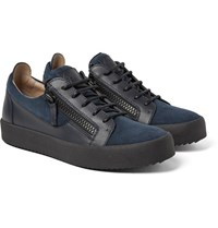 Giuseppe Zanotti Leather And Suede Sneakers Petrol