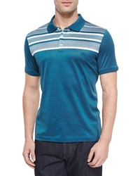 Salvatore Ferragamo Horizontal Stripe Polo Shirt Medium Blue