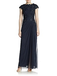 Tadashi Shoji Tulle And Beaded Lace Boatneck Gown Navy