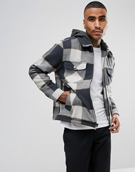 Brixton Casburn Flannel Jacket With Removable Hood Grey