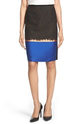 Boss 'Veloni' Ombre Jacquard Pencil Skirt Olive Fantasy