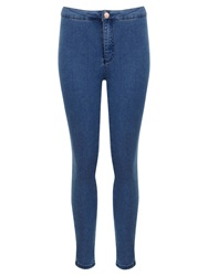 Miss Selfridge Petite High Waisted Jeans Mid Blue