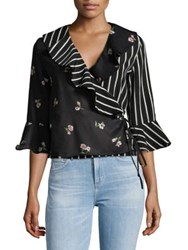 Design Lab Lord And Taylor Mixed Print Bell Sleeve Blouse Black