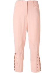 Fendi Eyelet Detail Cropped Trousers Silk Acetate Viscose Pink Purple