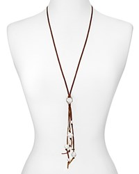 Chan Luu Leather And Cultured Freshwater Pearl Drop Necklace 28 Brown