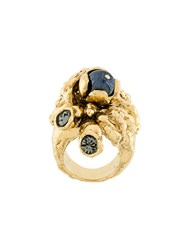 Koche Embellished Statement Ring Brass Glass Metallic