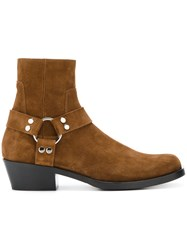 Balenciaga Harness Ankle Boots Men Leather Suede 40 Brown