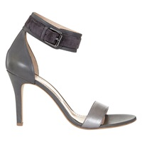 Mint Velvet Sofia Leather Ankle Strap Stiletto Sandals Grey Pewter