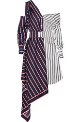 Monse Off The Shoulder Asymmetric Striped Silk Twill Dress Navy