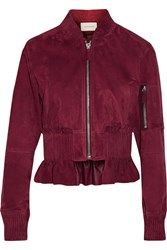 Cedric Charlier Cropped Ruffled Suede Bomber Jacket Burgundy