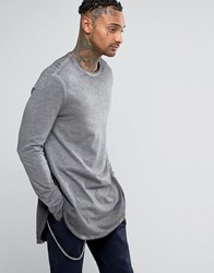 Asos Super Longline Long Sleeve T Shirt In Textured Fabric With Pigment Wash And Curved Hem Grey