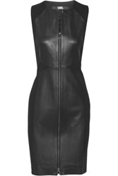 Karl Lagerfeld Leather And Stretch Ponte Mini Dress Black