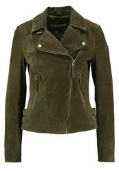 Freaky Nation Taxi Driver Leather Jacket Olive