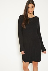 Forever 21 Mlm Ribbed Knit Sweater Dress Black
