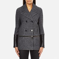 Karl Lagerfeld Women's Melange Boiled Wool Peacoat Grey Melange