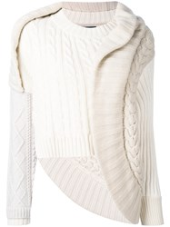 Burberry Deconstructed Cable Knit Sweater Women Cotton Polyamide Cashmere L White