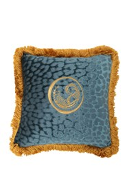 Roberto Cavalli Small Sigillo Velvet Accent Pillow Green Gold