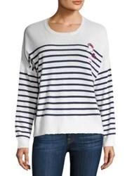 Sundry Patchwork Striped Merino Wool And Cashmere Blend Sweater Cream Navy