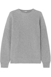 Loewe Oversized Ribbed Cashmere Sweater Gray