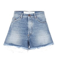 Off White Distressed Jean Shorts Blue