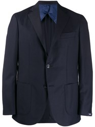 Barba Classic Fitted Blazer Blue