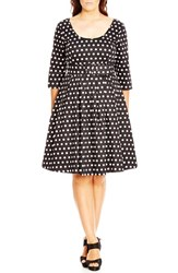 City Chic Plus Size Women's 'Mod Spot' Print Fit And Flare Dress